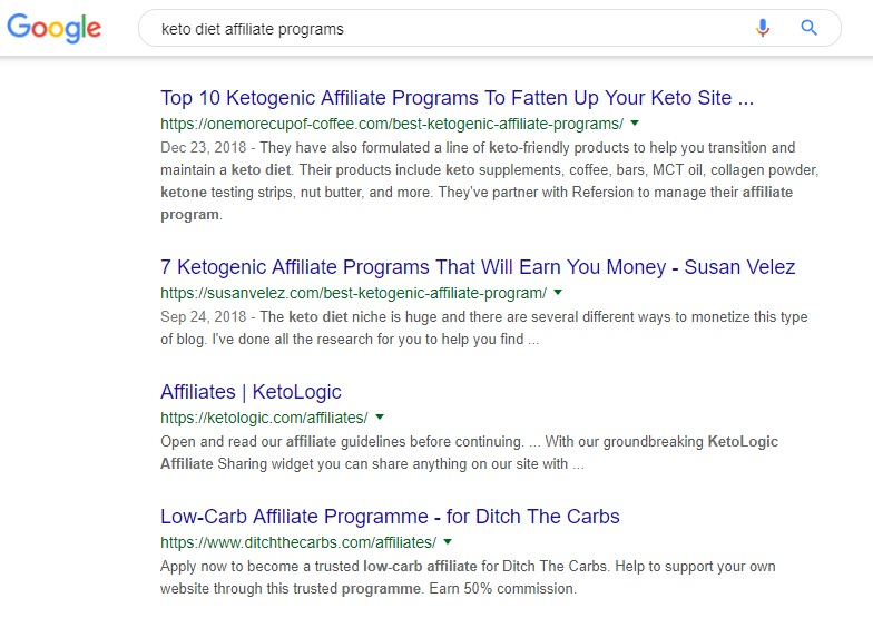 5 Best Niches for Affiliate Marketing in 2019 - keto results