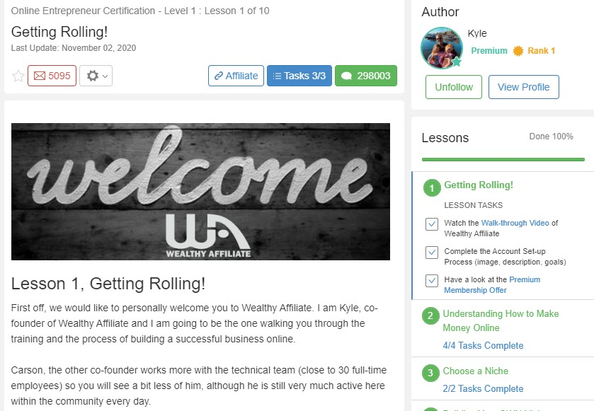 wealthy affiliate review - lesson 1