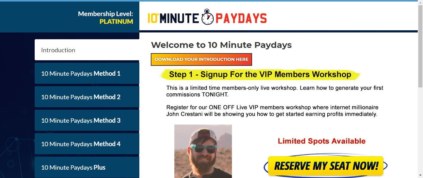 10 Minute Paydays Review - home page
