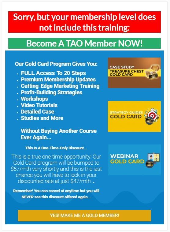 Taking Action Online - gold card funnel