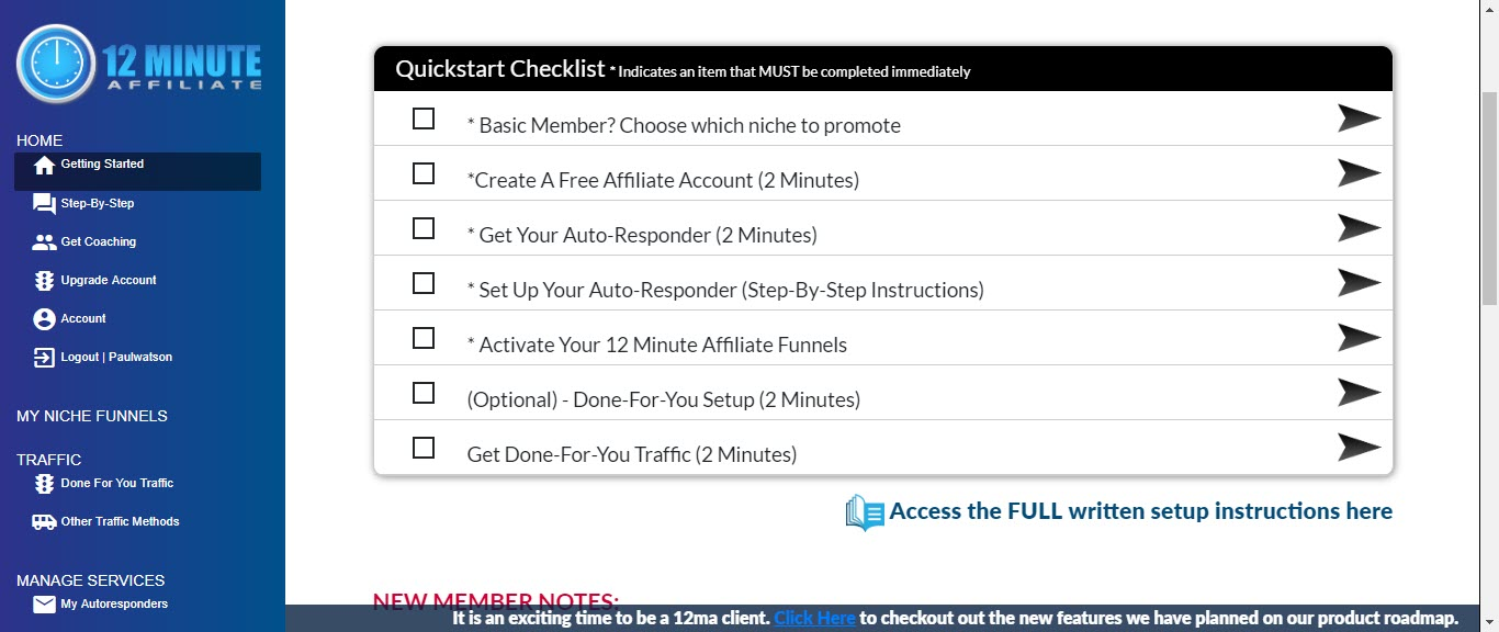 What is 12 Minute Affiliate - step 1 setup
