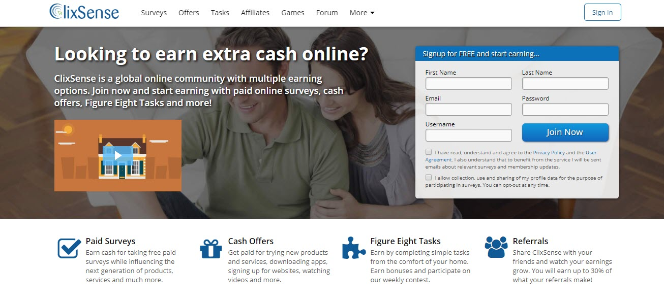 can you make money with Clixsense - Home page