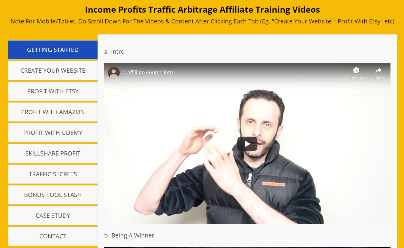 income profits review - training