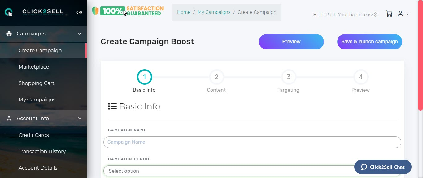 Click2sell review - campaign