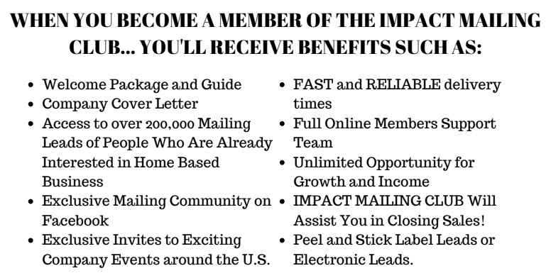 impact mailing club - what you get