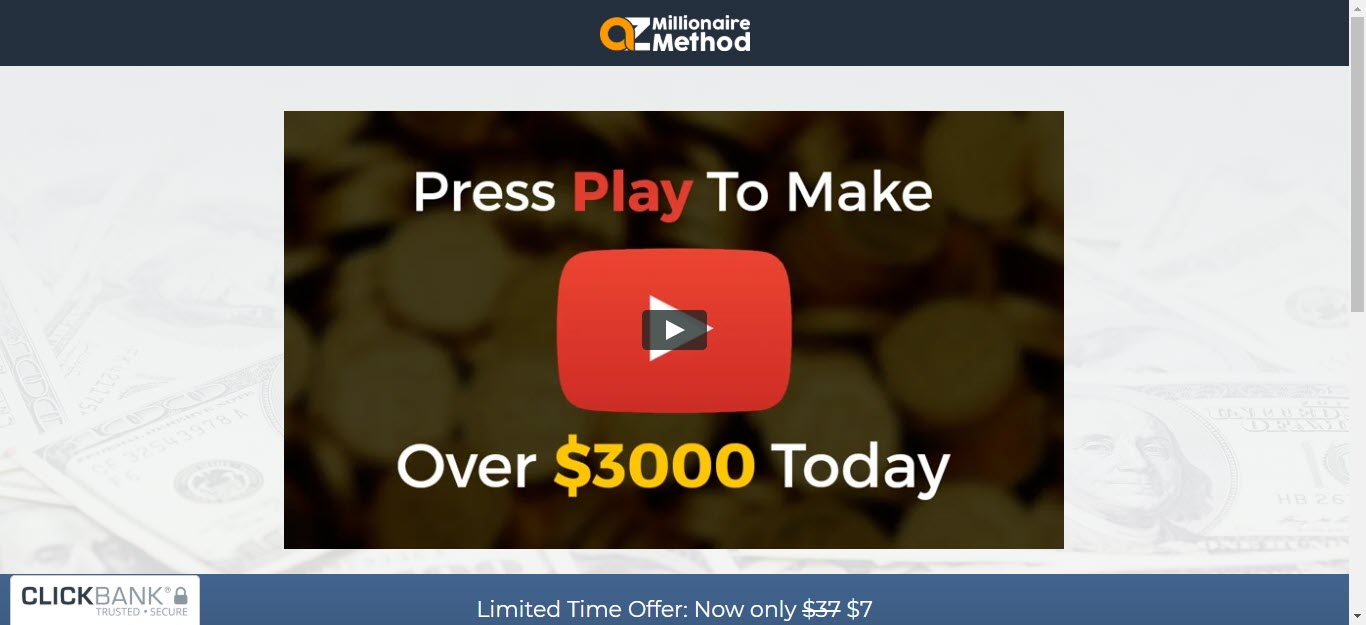AZ Millionaire Method Review - Sales page