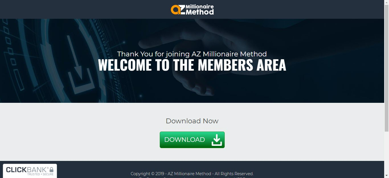 AZ Millionaire Method Review - membership first page