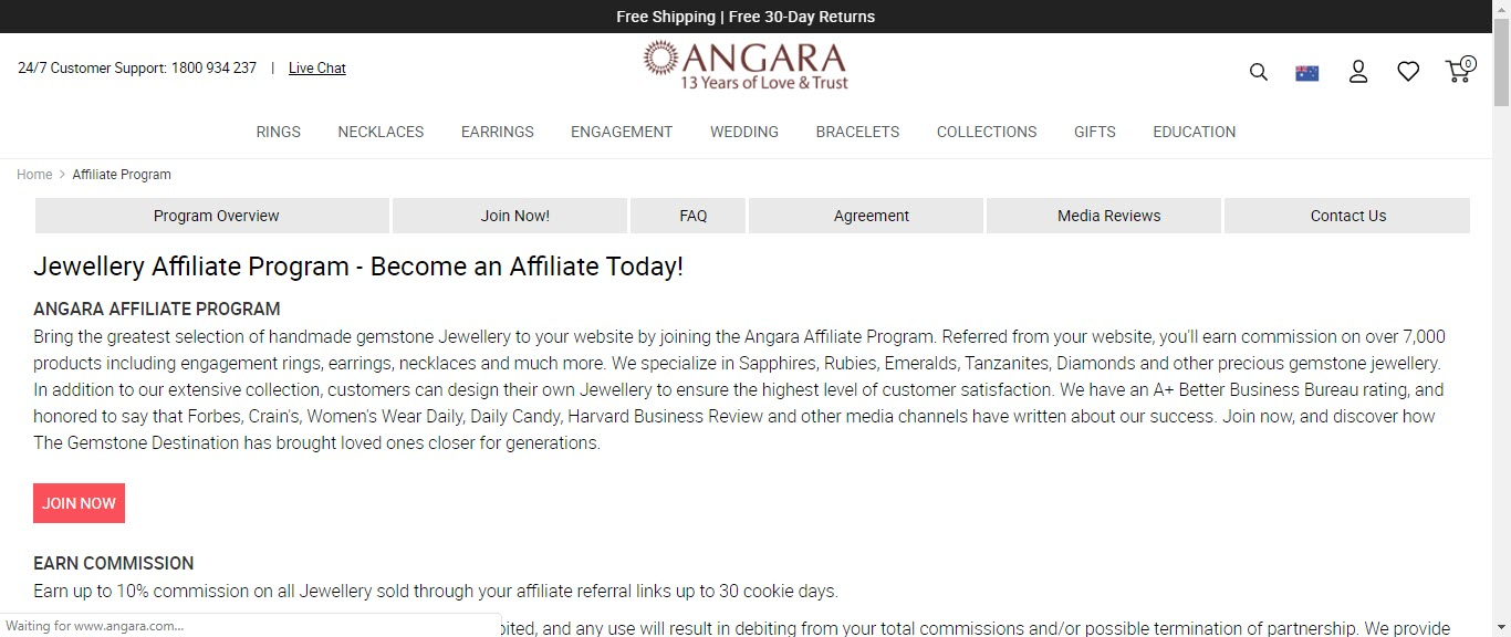 Best Jewelry Affiliate Programs - angara affiliate