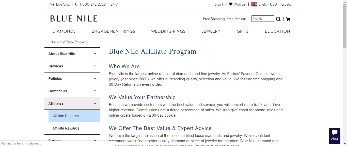 Best Jewelry Affiliate Programs - blue nile affiliate