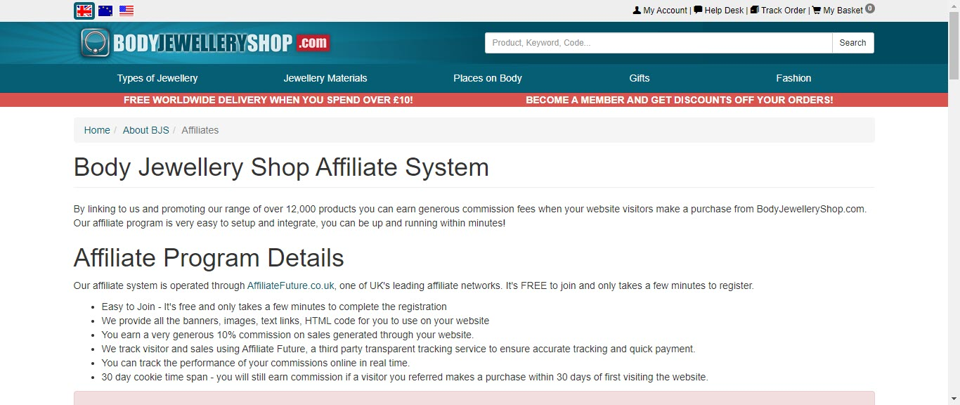 Best Jewelry Affiliate Programs - bodyjewelryshop affiliate