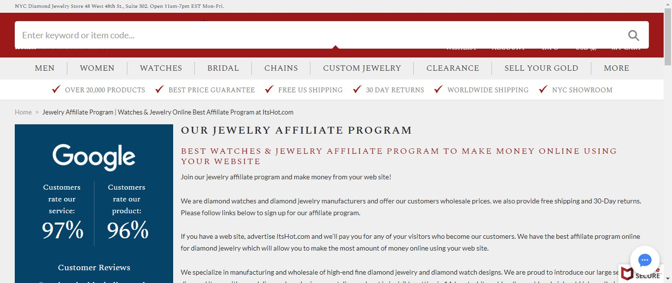Best Jewelry Affiliate Programs - itshot affiliate