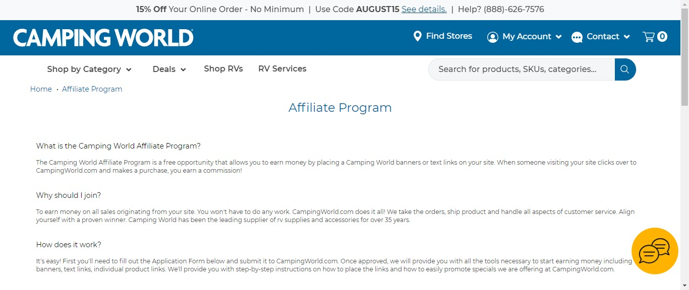 Camping Affiliate Programs - camping world affiliate