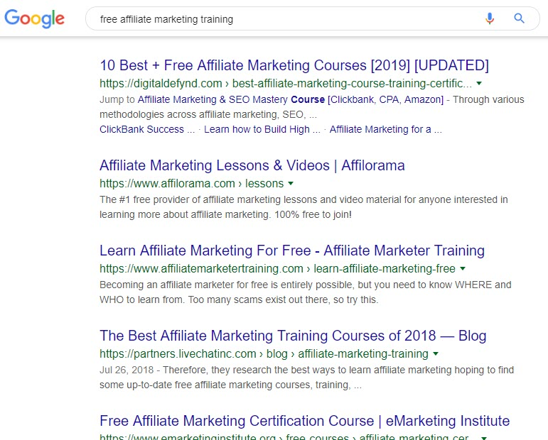Free Affiliate Marketing Training Programs - search