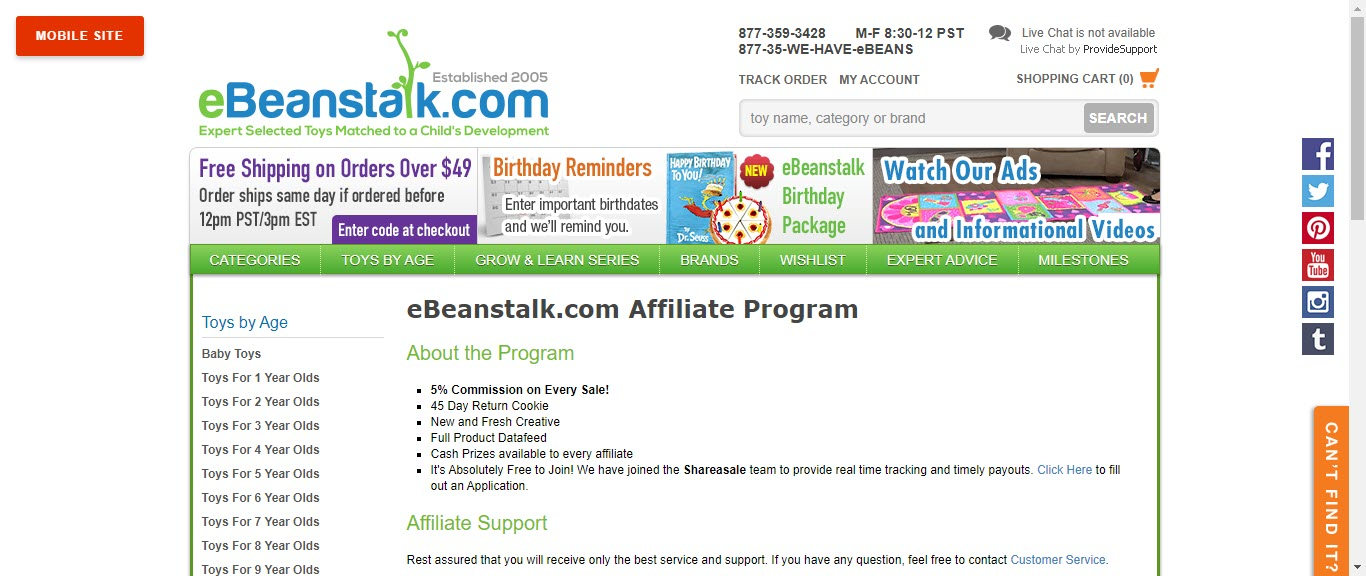 Toy Affiliate Programs - eBeanstalk.com affiliate