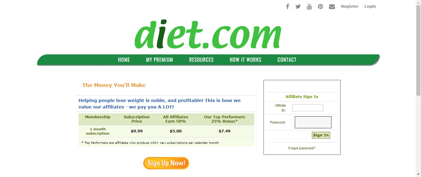 Weight loss affiliate programs - diet.com affiliate