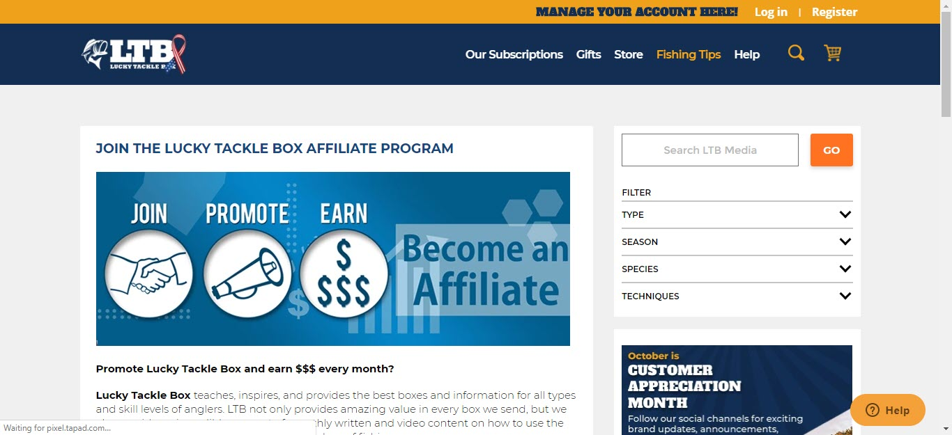 Fishing Affiliate Programs - Lucky Tackle Box affiliate