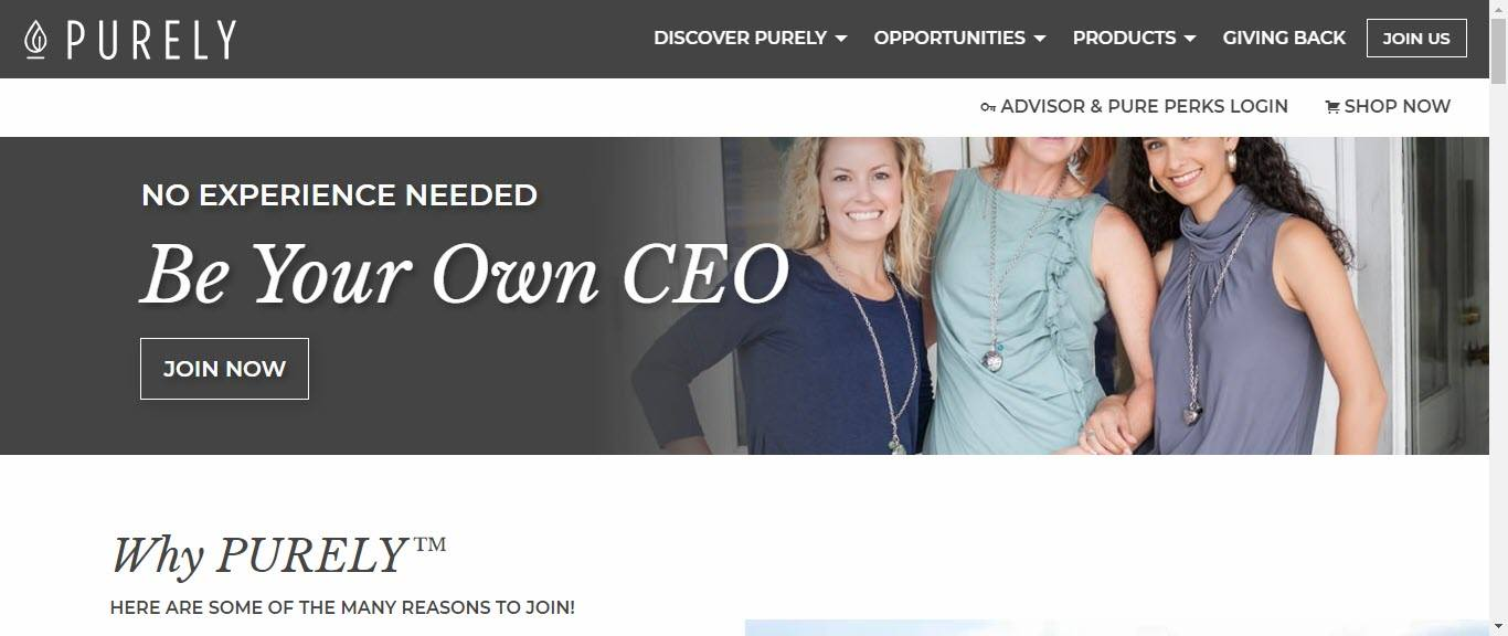 Purely Essential Oils MLM Review - membership main page
