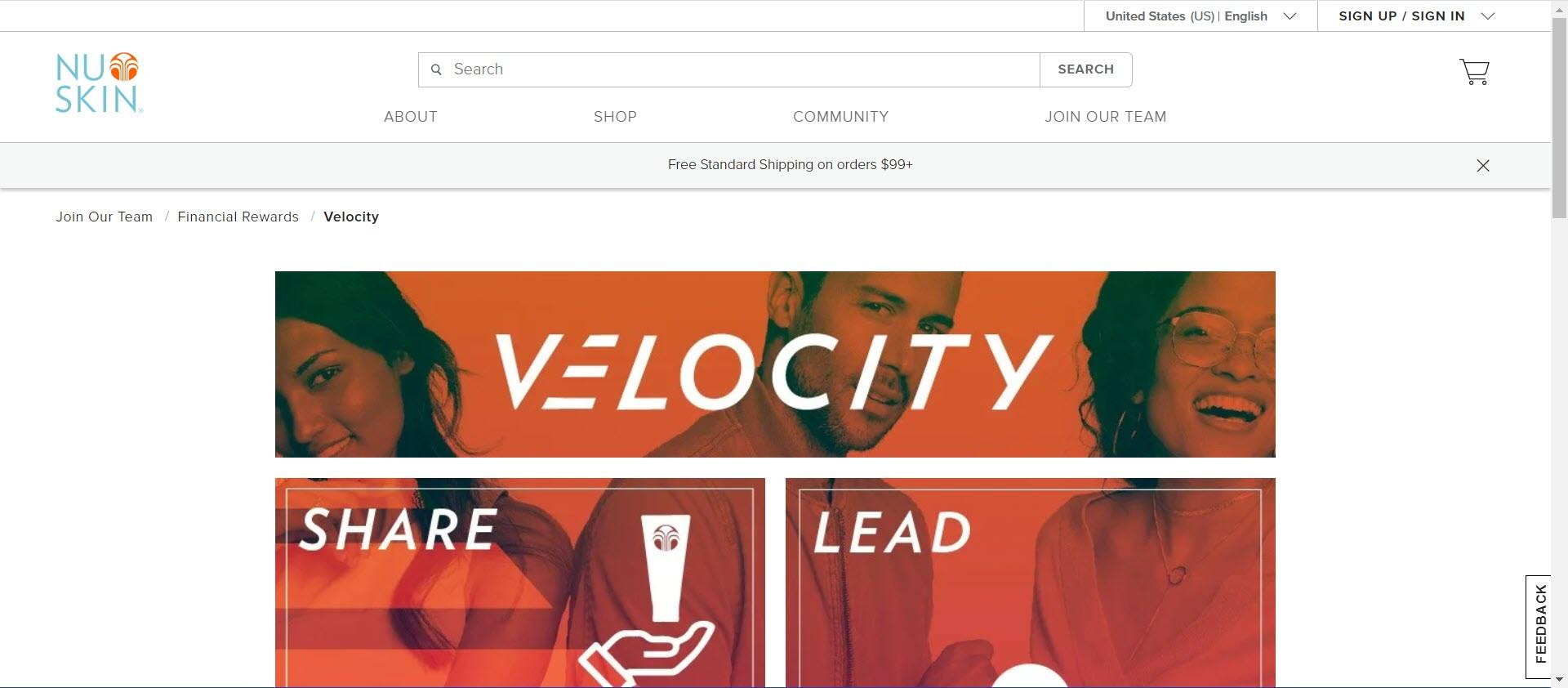 is nu skin MLM - velocity page