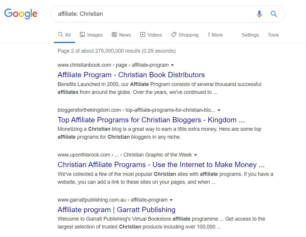 sell christian products - affiliate programs