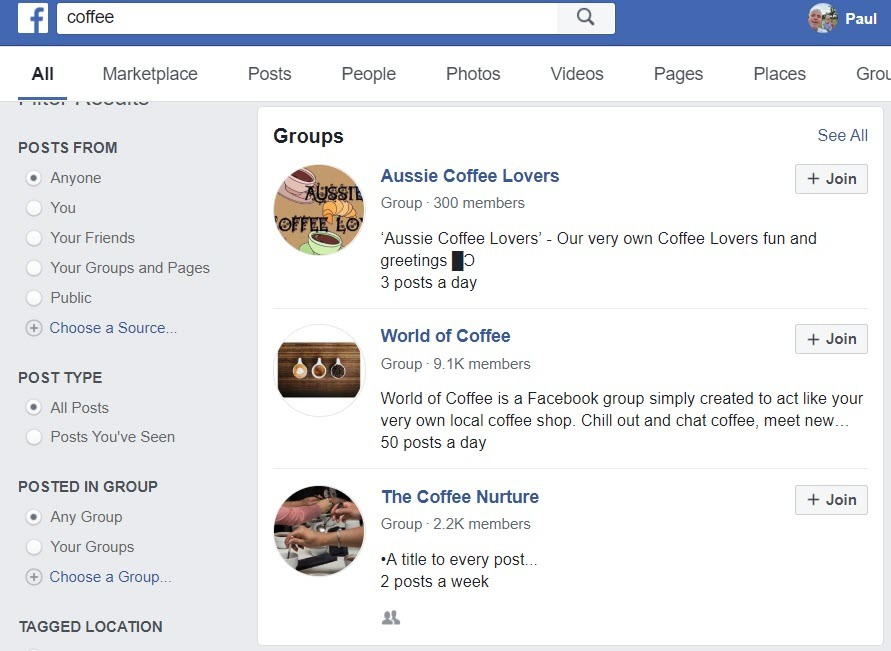 Sell Coffee Online - FB groups