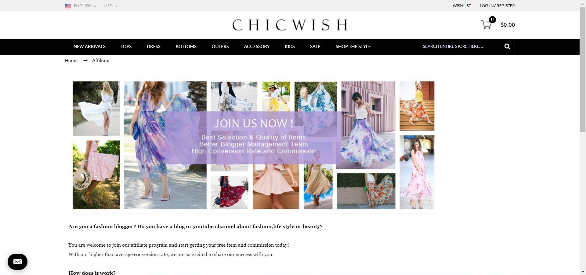 Women's Fashion Affiliate Programs - Chic Wish affiliate