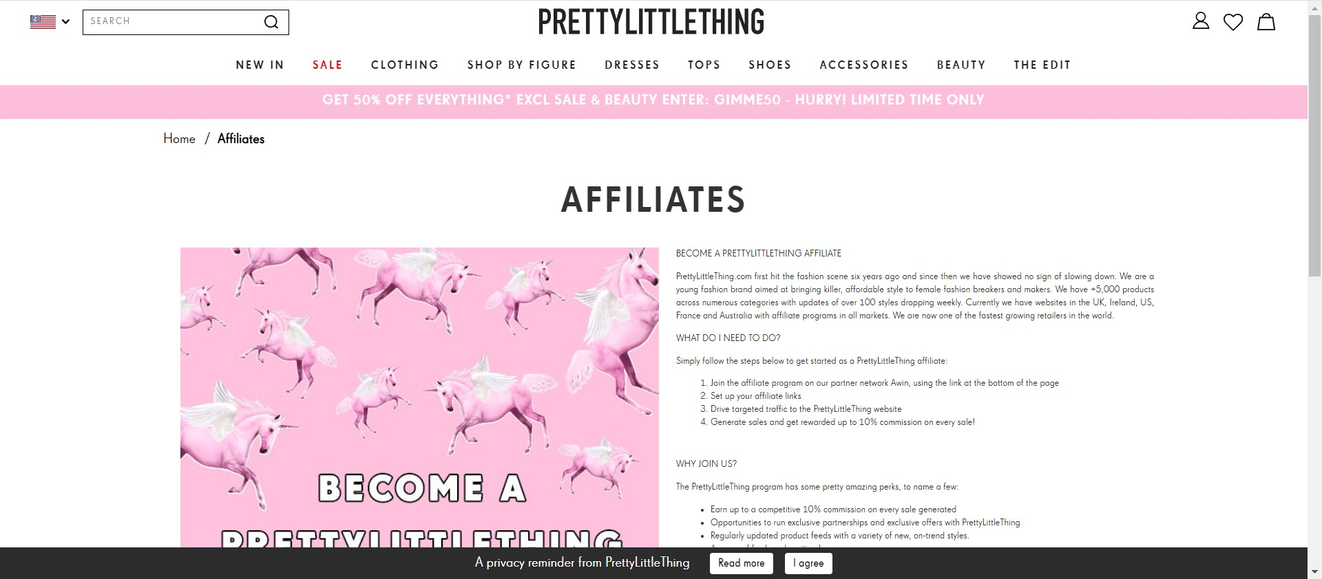 clothing affiliate marketing programs - Pretty Little Thing affiliate