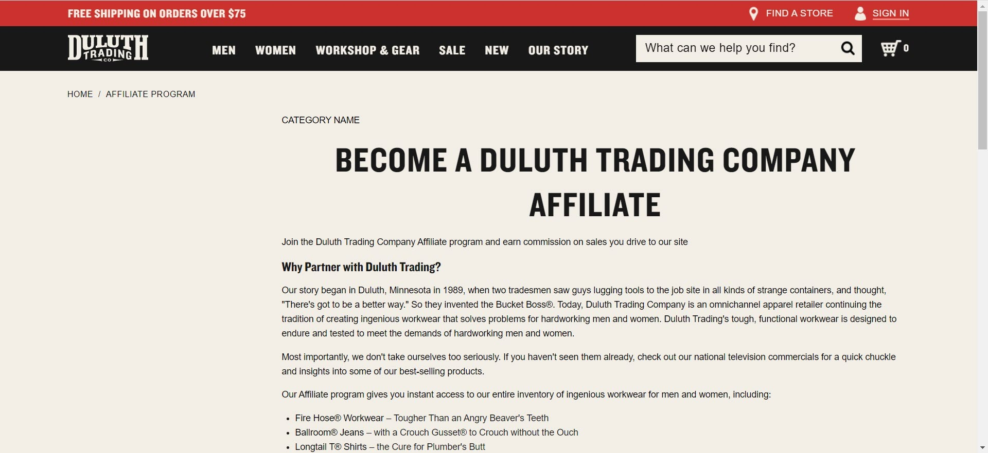 mens clothing affiliate programs - duluth affiliate