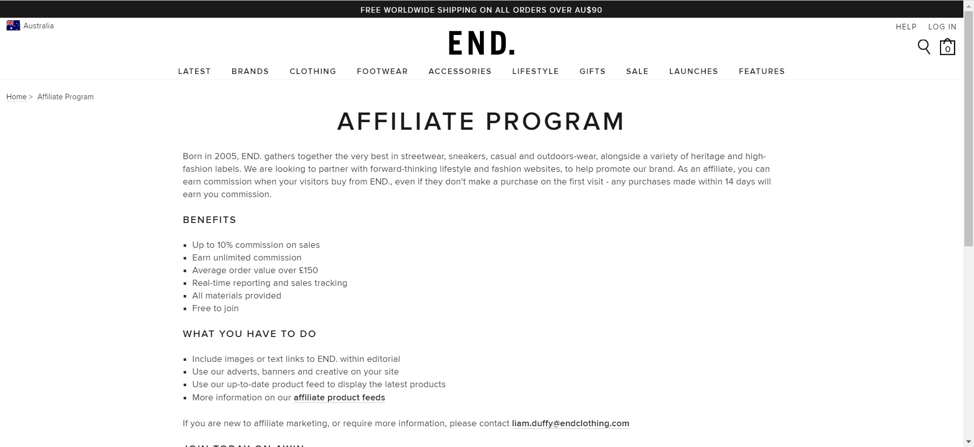 mens clothing affiliate programs - end clothing affiliate