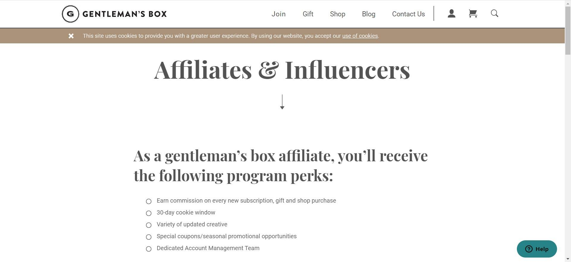 mens clothing affiliate programs - gentlemans box affiliate