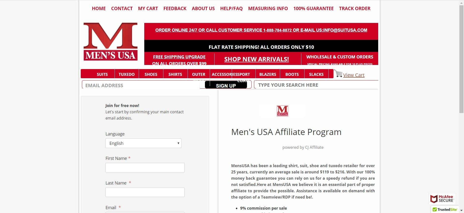 mens clothing affiliate programs - mensusa affiliate