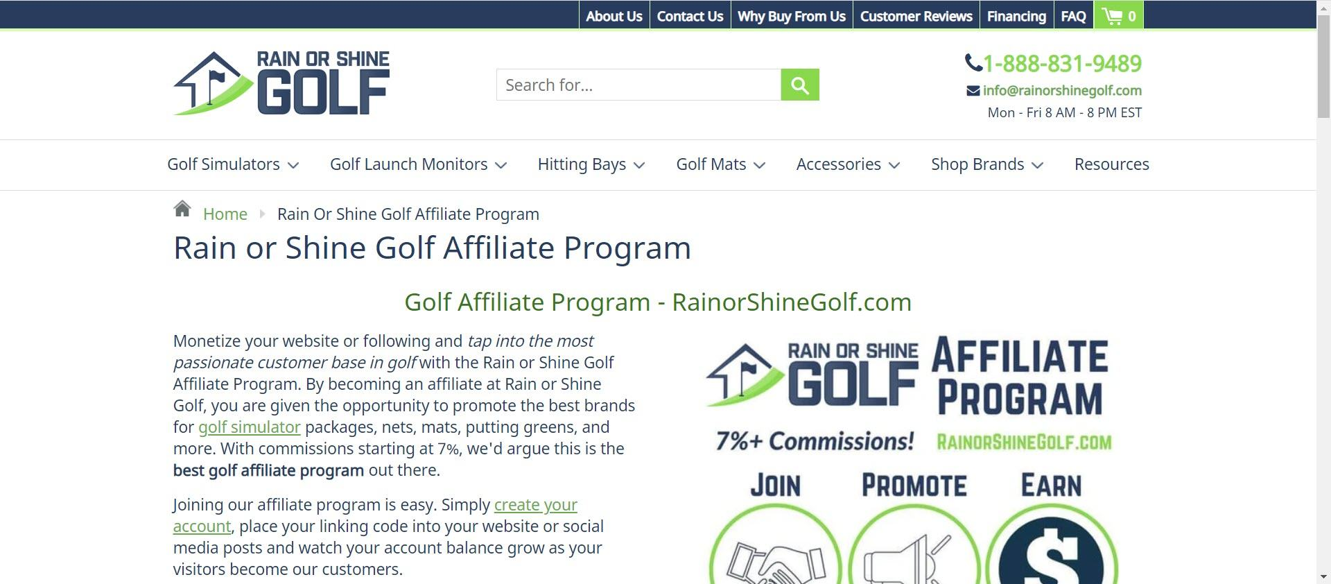 Best Golf Affiliate Programs - Rain or Shine affiliate