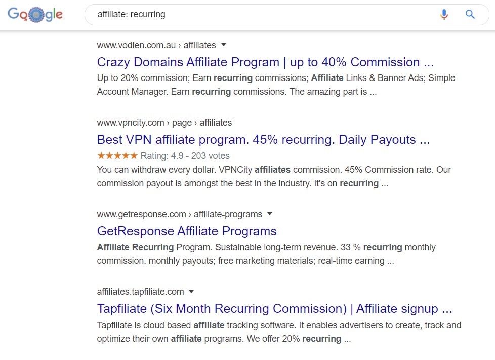 recurring Affiliate programs - affiliate lists