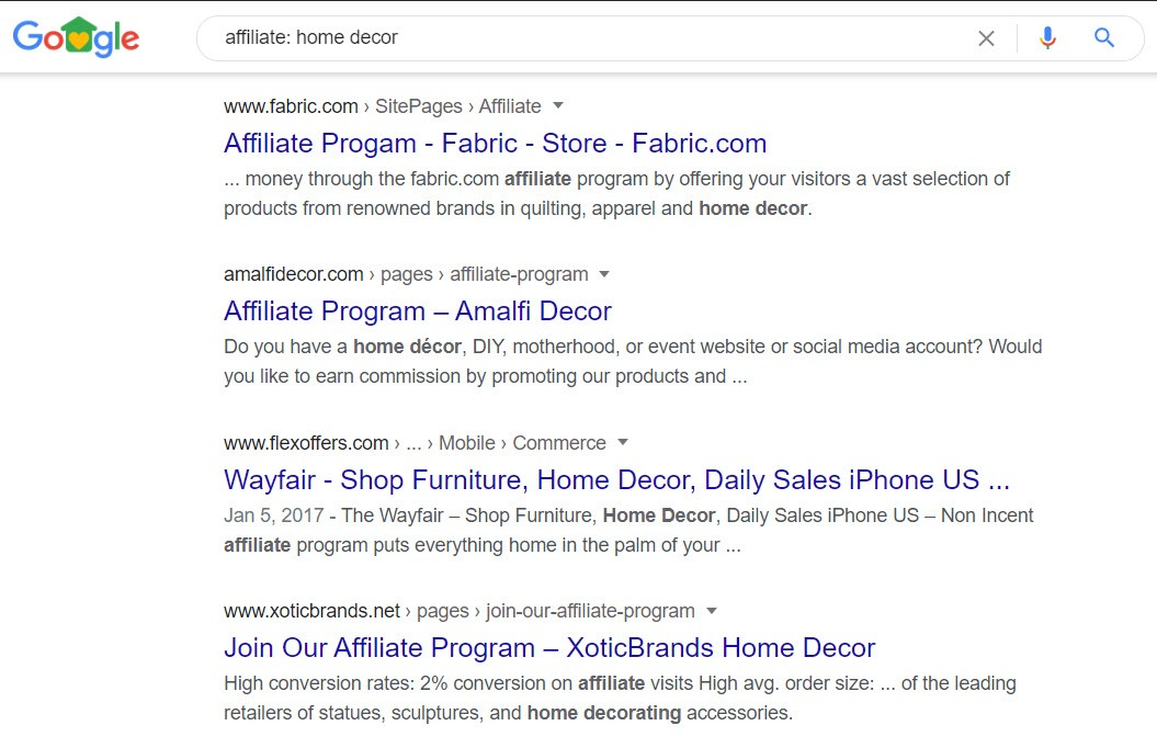 Home Decor Affiliate programs - affiliate