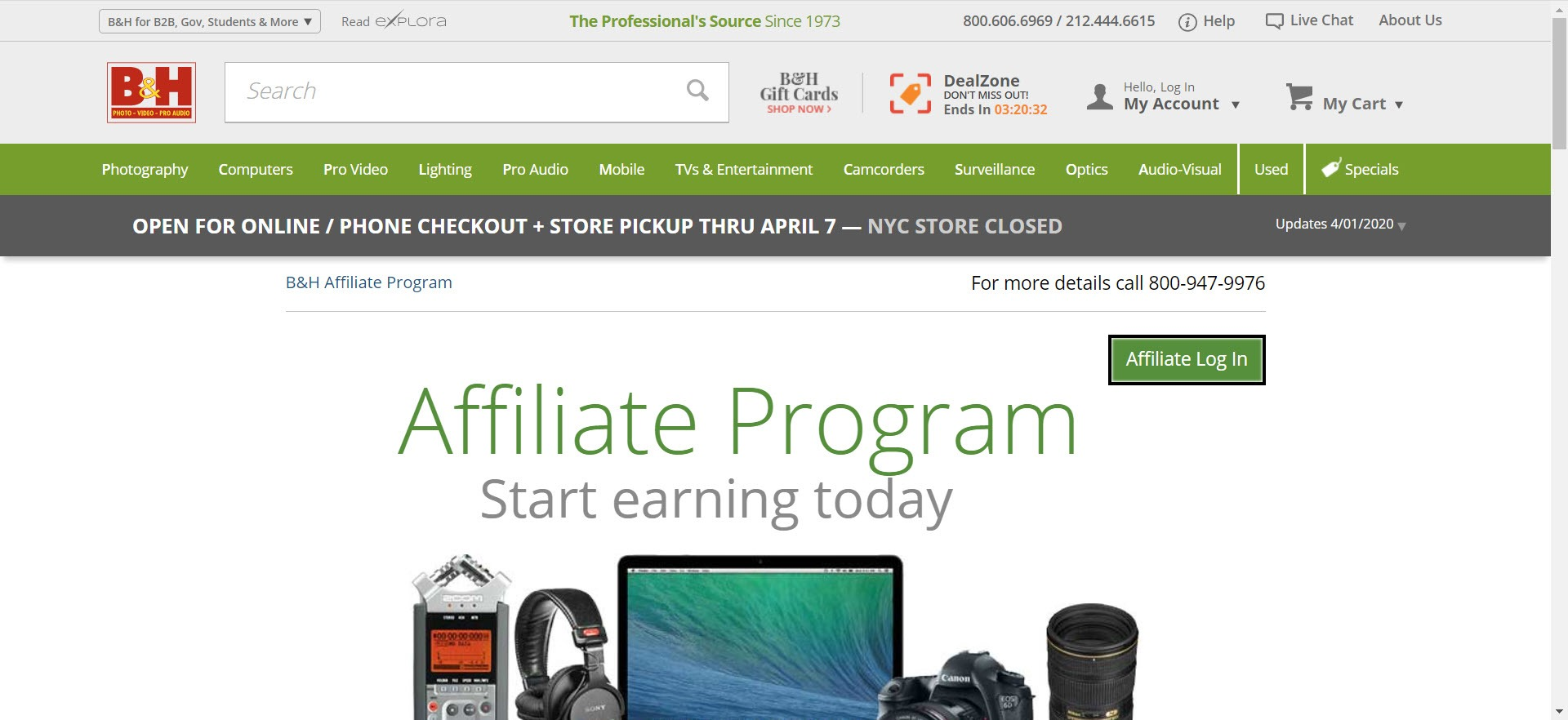 Photography Affiliate Programs - B&H affiliate