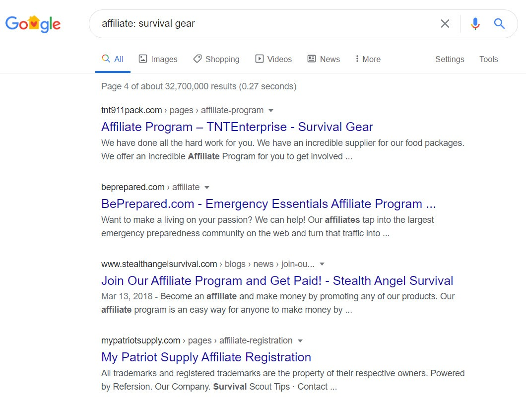 Survival Affiliate Programs - Programs