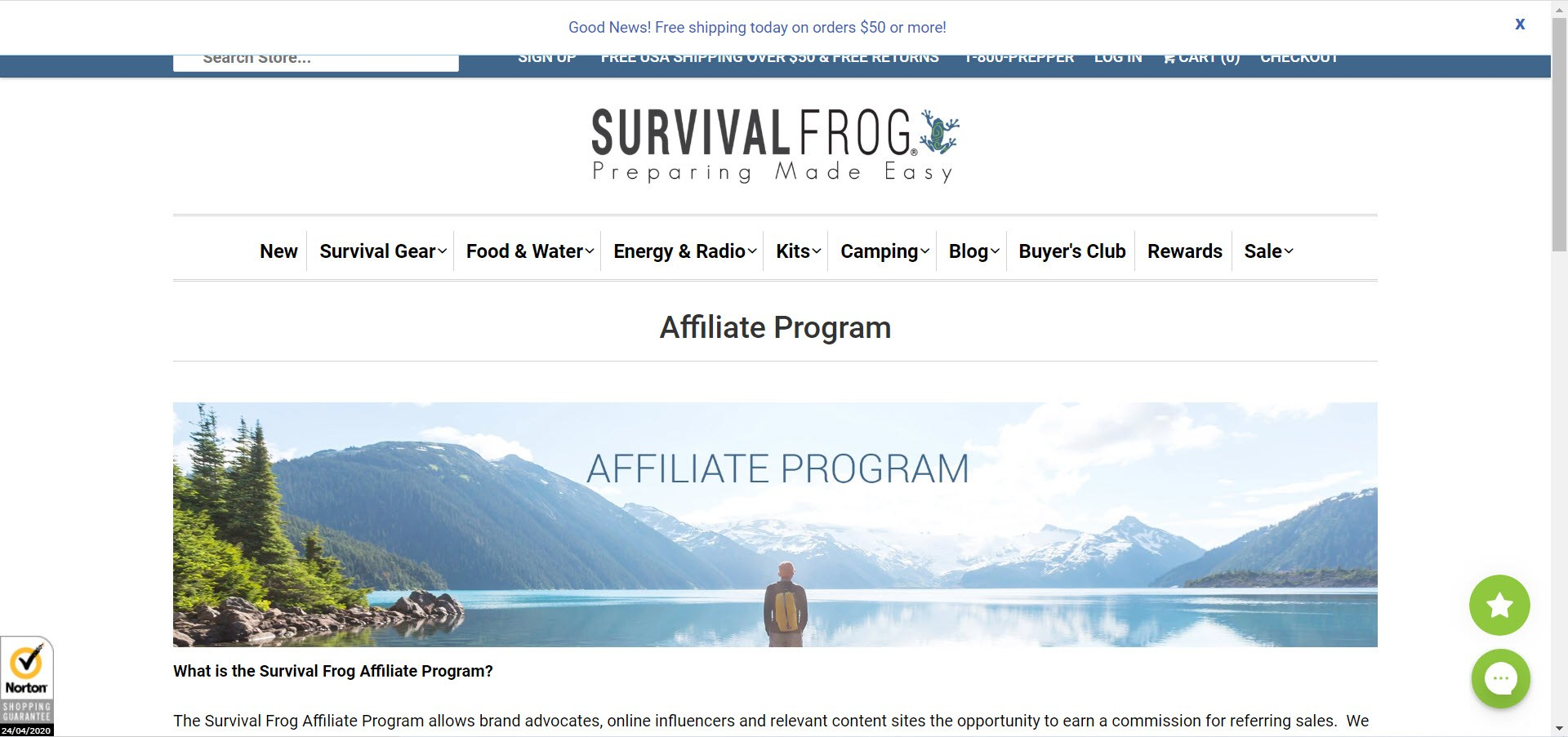 Survival Affiliate Programs - Survival Frog affiliate