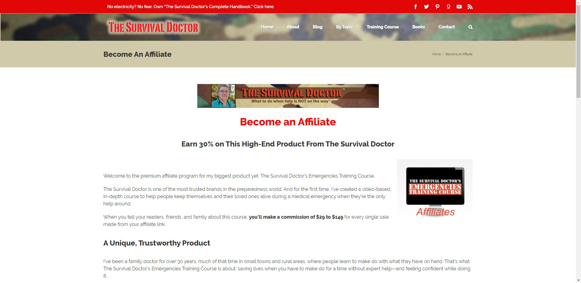 Survival Affiliate Programs - The Survival Doctor Affiliate