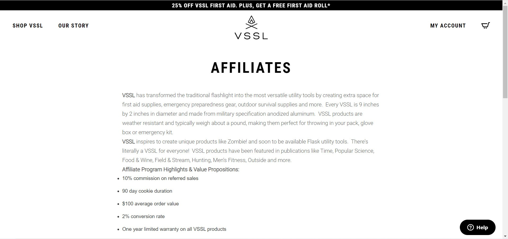 Survival Affiliate Programs - VSSL affiliate