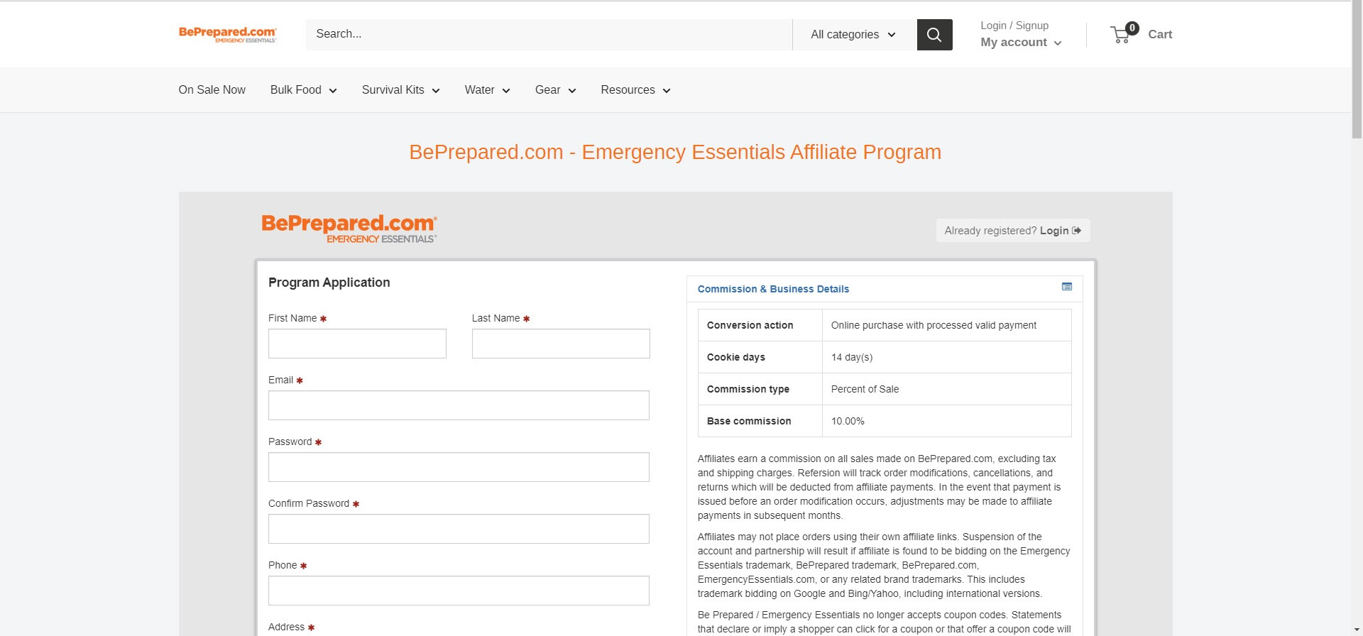 Survival Affiliate Programs - beprepared affiliate