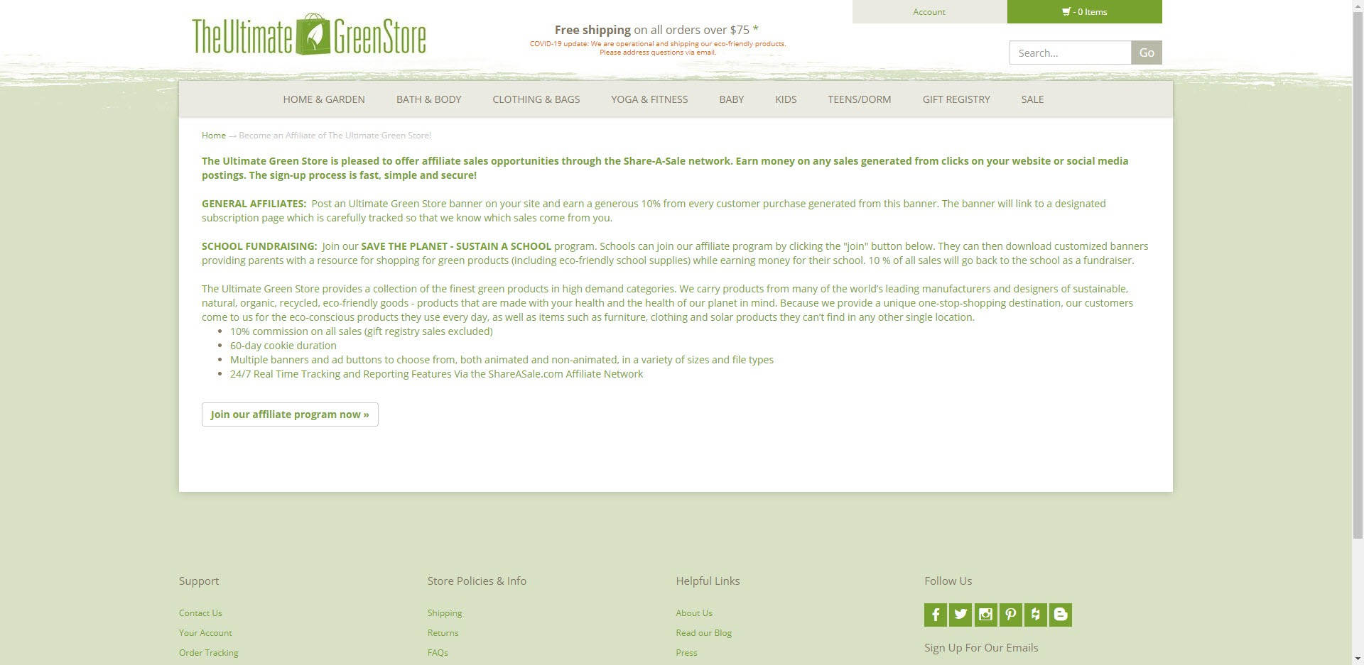 eco friendly affiliate programs - The ulimate green store Affiliate