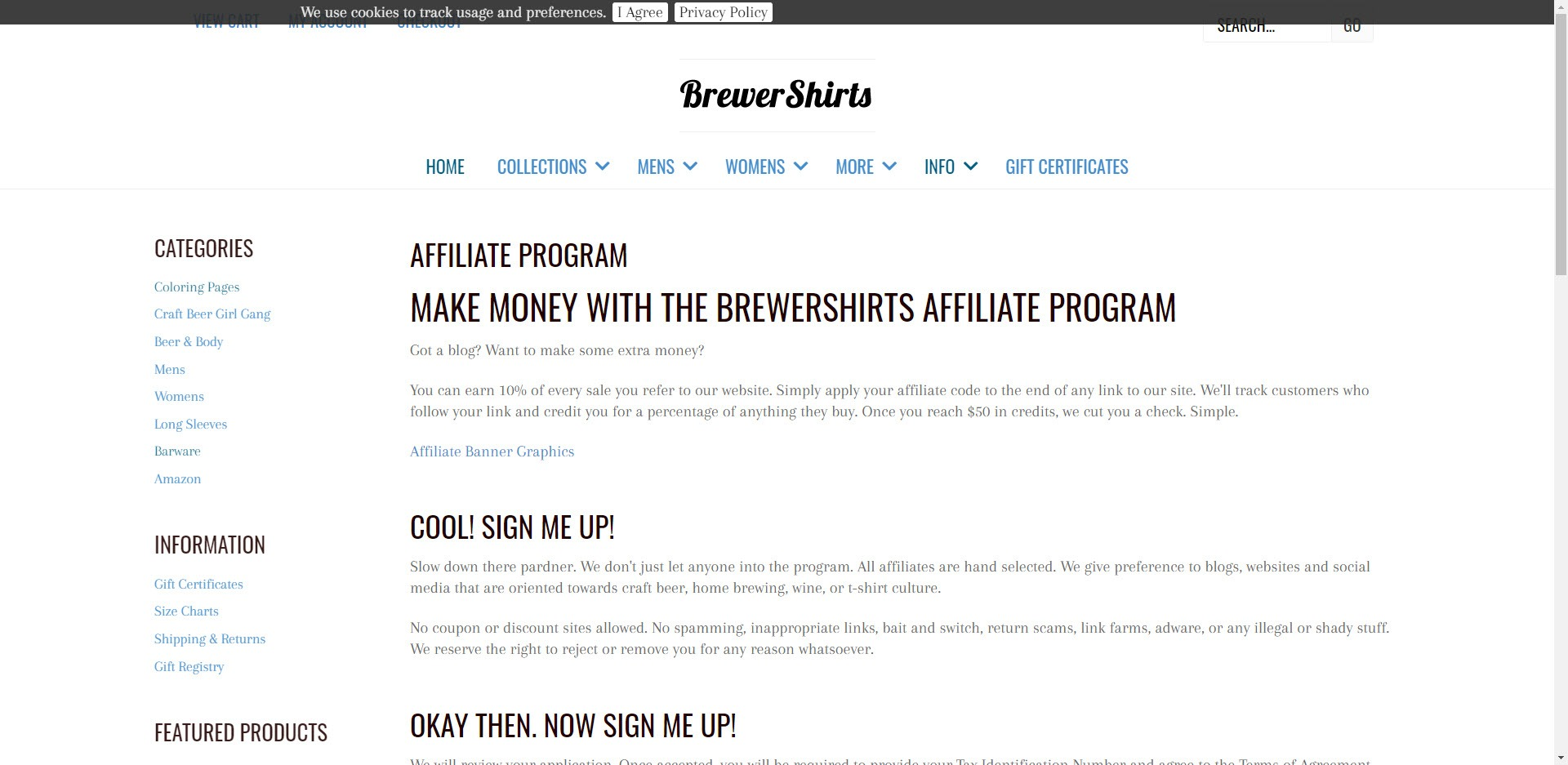 Beer affiliate programs - Brewershirts affiliate