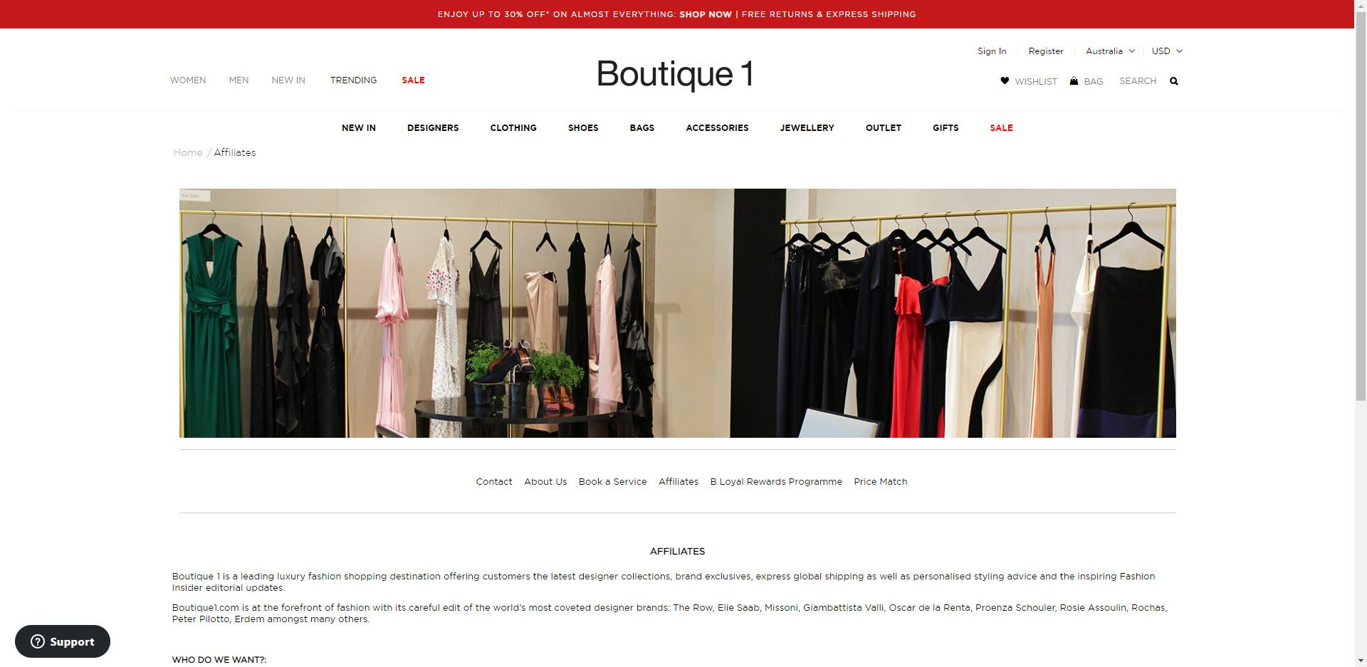 Fashion Designer Affiliate Programs - Boutique 1 affiliate