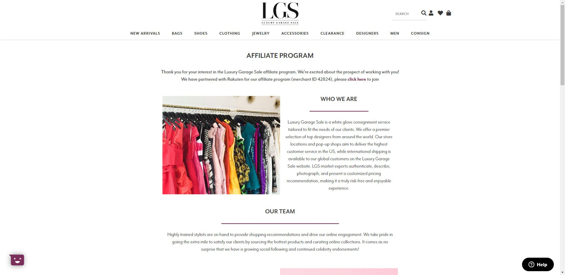 Fashion Designer Affiliate Programs - Luxury Garage Sale affiliate