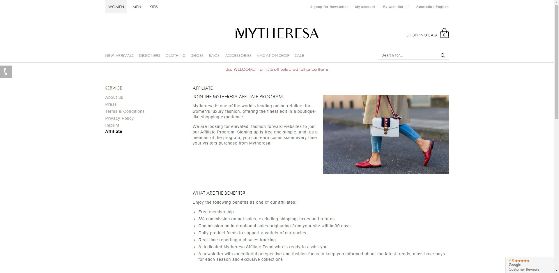 Fashion Designer Affiliate Programs - Mytheresa affiliate