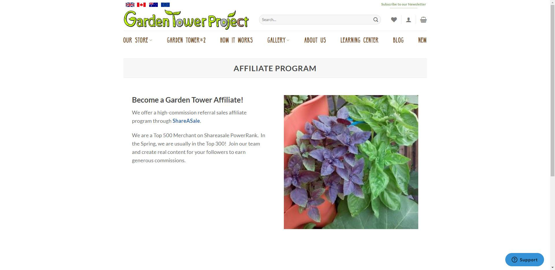 Gardening Affiliate Programs - Garden Tower Project Affiliate