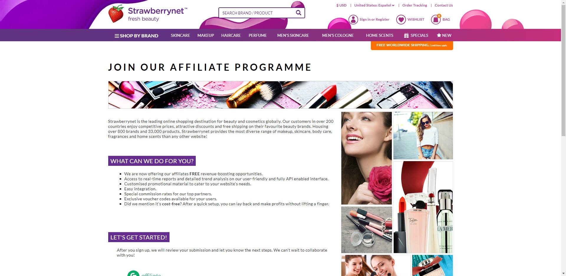 Perfume Affiliate Programs - Strawberrynet affiliate