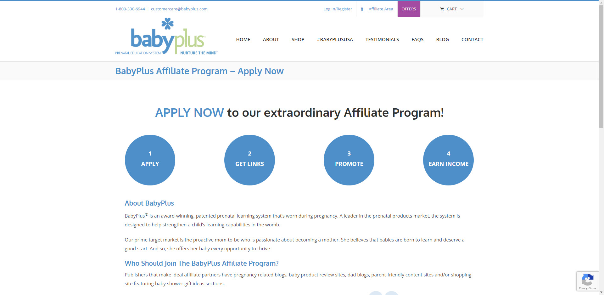 Maternity Affiliate Programs - Baby Plus stripe