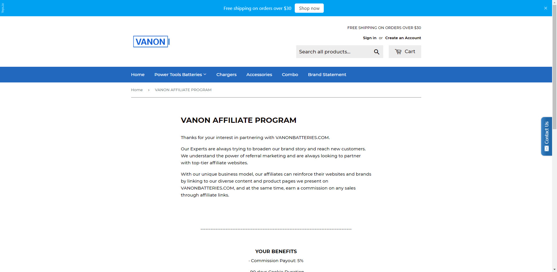 Power tools affiliate programs - Vanon Affiliate