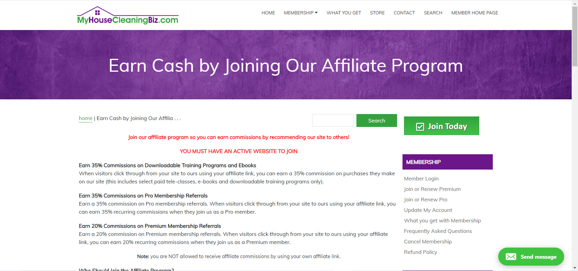 Cleaning Products Affiliate Programs - myhousecleaningbiz.com affiliate