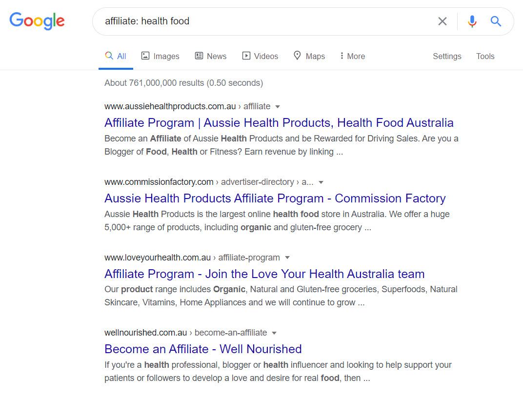 Health Food Affiliate Programs - affiliates